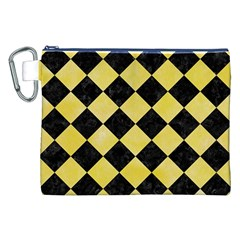 Square2 Black Marble & Yellow Watercolor Canvas Cosmetic Bag (xxl)