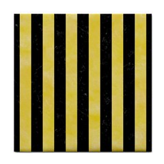 Stripes1 Black Marble & Yellow Watercolor Tile Coasters
