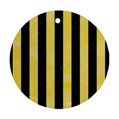 Stripes1 Black Marble & Yellow Watercolor Ornament (round)