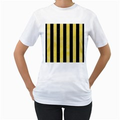 Stripes1 Black Marble & Yellow Watercolor Women s T Shirt (white) (two Sided)