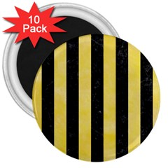 Stripes1 Black Marble & Yellow Watercolor 3  Magnets (10 Pack)