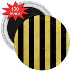 Stripes1 Black Marble & Yellow Watercolor 3  Magnets (100 Pack)
