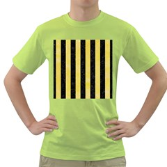 Stripes1 Black Marble & Yellow Watercolor Green T Shirt