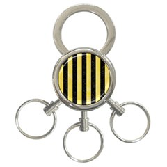 Stripes1 Black Marble & Yellow Watercolor 3 Ring Key Chains