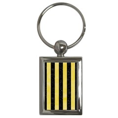 Stripes1 Black Marble & Yellow Watercolor Key Chains (rectangle)