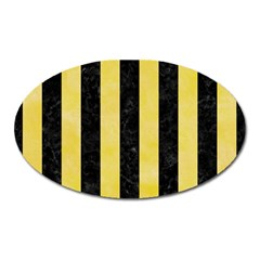 Stripes1 Black Marble & Yellow Watercolor Oval Magnet