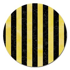 Stripes1 Black Marble & Yellow Watercolor Magnet 5  (round)