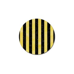Stripes1 Black Marble & Yellow Watercolor Golf Ball Marker (10 Pack)
