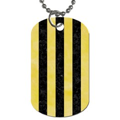 Stripes1 Black Marble & Yellow Watercolor Dog Tag (two Sides)