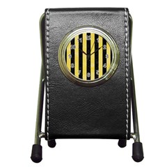 Stripes1 Black Marble & Yellow Watercolor Pen Holder Desk Clocks