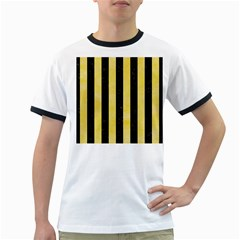 Stripes1 Black Marble & Yellow Watercolor Ringer T Shirts