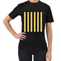 Stripes1 Black Marble & Yellow Watercolor Women s T Shirt (black) (two Sided)