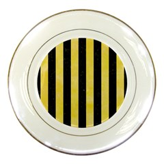 Stripes1 Black Marble & Yellow Watercolor Porcelain Plates