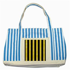 Stripes1 Black Marble & Yellow Watercolor Striped Blue Tote Bag