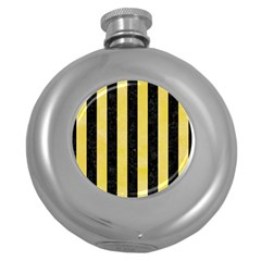 Stripes1 Black Marble & Yellow Watercolor Round Hip Flask (5 Oz)