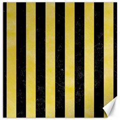 Stripes1 Black Marble & Yellow Watercolor Canvas 16  X 16