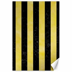 Stripes1 Black Marble & Yellow Watercolor Canvas 20  X 30