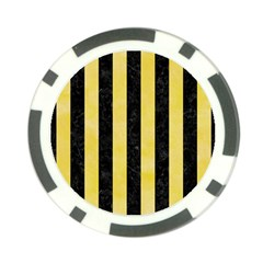 Stripes1 Black Marble & Yellow Watercolor Poker Chip Card Guard