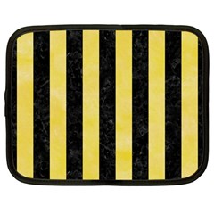 Stripes1 Black Marble & Yellow Watercolor Netbook Case (large)