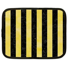 Stripes1 Black Marble & Yellow Watercolor Netbook Case (xl)