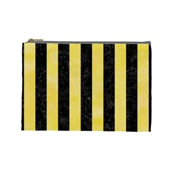 Stripes1 Black Marble & Yellow Watercolor Cosmetic Bag (large)