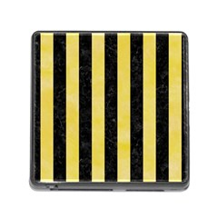 Stripes1 Black Marble & Yellow Watercolor Memory Card Reader (square)