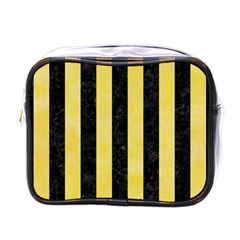 Stripes1 Black Marble & Yellow Watercolor Mini Toiletries Bags