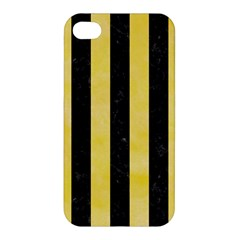 Stripes1 Black Marble & Yellow Watercolor Apple Iphone 4/4s Premium Hardshell Case