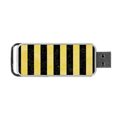 Stripes1 Black Marble & Yellow Watercolor Portable Usb Flash (two Sides)