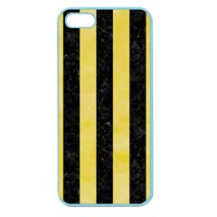 Stripes1 Black Marble & Yellow Watercolor Apple Seamless Iphone 5 Case (color)