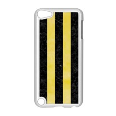 Stripes1 Black Marble & Yellow Watercolor Apple Ipod Touch 5 Case (white)