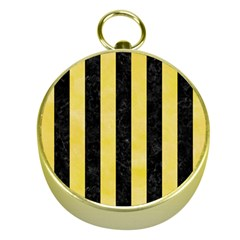 Stripes1 Black Marble & Yellow Watercolor Gold Compasses
