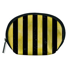 Stripes1 Black Marble & Yellow Watercolor Accessory Pouches (medium)