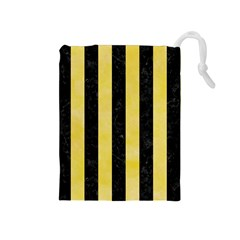 Stripes1 Black Marble & Yellow Watercolor Drawstring Pouches (medium)