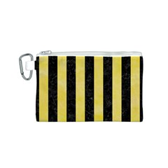 Stripes1 Black Marble & Yellow Watercolor Canvas Cosmetic Bag (s)
