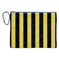 Stripes1 Black Marble & Yellow Watercolor Canvas Cosmetic Bag (xxl)