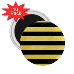 Stripes2 Black Marble & Yellow Watercolor 2 25  Magnets (10 Pack)
