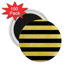 Stripes2 Black Marble & Yellow Watercolor 2 25  Magnets (100 Pack)