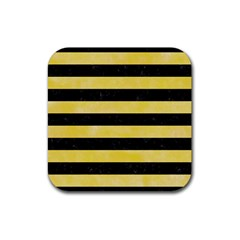 Stripes2 Black Marble & Yellow Watercolor Rubber Square Coaster (4 Pack)