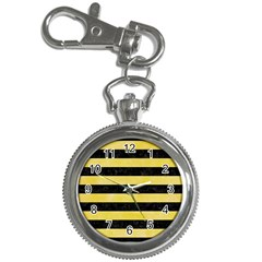 Stripes2 Black Marble & Yellow Watercolor Key Chain Watches