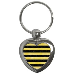 Stripes2 Black Marble & Yellow Watercolor Key Chains (heart)