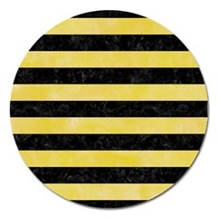 Stripes2 Black Marble & Yellow Watercolor Magnet 5  (round)