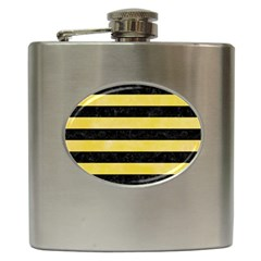 Stripes2 Black Marble & Yellow Watercolor Hip Flask (6 Oz)
