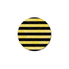Stripes2 Black Marble & Yellow Watercolor Golf Ball Marker (4 Pack)