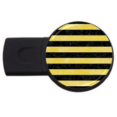 Stripes2 Black Marble & Yellow Watercolor Usb Flash Drive Round (2 Gb)