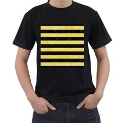 Stripes2 Black Marble & Yellow Watercolor Men s T Shirt (black) (two Sided)