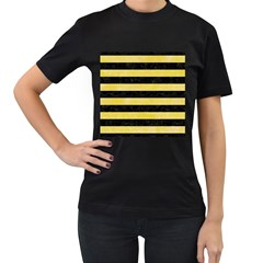 Stripes2 Black Marble & Yellow Watercolor Women s T Shirt (black) (two Sided)
