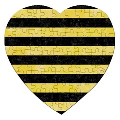 Stripes2 Black Marble & Yellow Watercolor Jigsaw Puzzle (heart)