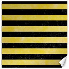Stripes2 Black Marble & Yellow Watercolor Canvas 12  X 12