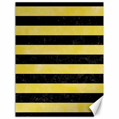 Stripes2 Black Marble & Yellow Watercolor Canvas 12  X 16